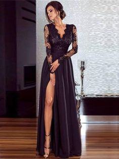Women Lace Evening Party Prom Gown Ladies Formal Empire Waist Long Dress Solid V-Neck Long Sleeve Floor-Length Maxi Dresses Split Prom Dresses, Prom Dresses With Sleeves, Lace Evening Dresses, Lace Dress With Sleeves, Dress Lace, Evening Gowns, Sexy Maxi Dress, Maxi Dress With Slit, Maxi Dresses