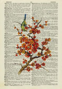 Cherry Blossoms. I love the painting being on an old dictionary page lol.