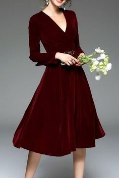 Shop blueoxy wine red long sleeve velvet midi dress here, find your midi dresses at dezzal, huge selection and best quality. Long Midi Dress, Velvet Midi Dress, Dress Up, Burgundy Midi Dress, Wine Red Dress, Velvet Dresses, Swing Dress, Pretty Dresses, Beautiful Dresses