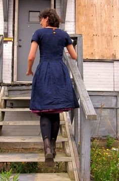 80's dress refashion. Look for the underdress and the buttons.