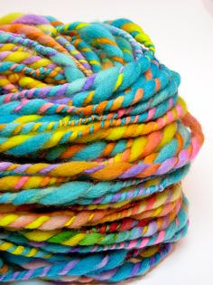 Beyond super bulky rainbow yarn, handspun in hand painted and hand dyed wool - 44 yards, 4.7 ounces by TheGingkoLeaf on @Etsy