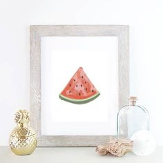 Nothing says summer like a good ole' slice of watermelon, so brighten up your decor with this gorgeous hand painted watermelon art print.