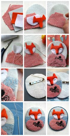 felt fox brooch accessory