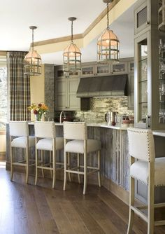 Vail Mountain Bachelor Condo - contemporary - kitchen - denver - Bardes Interiors light fixtures, cabinets, vent hood, wood under counter Farmhouse Kitchen Lighting, Modern Farmhouse Kitchens, Home Kitchens, Kitchen Decor, Kitchen Rustic, Room Kitchen, Bar Kitchen, Kitchen Island, Kitchen Ideas