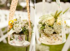 Hanging tea cup planters <3