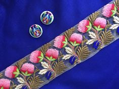 Spring Floral Embroidery Net Trim,Pink Roses Indian Embroidery Trim Blue White Gold Sari Border Beige Net Lace,10 cm W, 1 mtr,15% off on 9 m