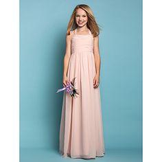 Floor-length Chiffon Junior Bridesmaid Dress Sheath / Column Halter Natural with Ruching – CAD $ 97.29