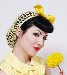 Vintage Retro Pinup Hair Snood in Buttercup Yellow Crocheted from  1940s Design. $25.00, via Etsy.