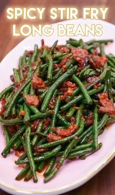 Spicy Stir Fried Chinese Long Beans Recipe & Video – Seonkyoung Longest Watch the Video First! Hi guys! This is the recipe of 2017 Asian at Home Holiday Special Recipes! I'm so thrilled to share my style of holiday special… Spicy Recipes, Asian Recipes, Healthy Recipes, Top Recipes, Side Dish Recipes, Recipies, Chinese Recipes, Chili Recipes, Easy Recipes