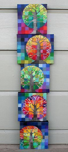 """Little Trees Growing"" by Loretta Grayson. These originals are oils. Thinking grade could maybe do this as a paper mosaic and maybe zentangle tree trunk. Arte Elemental, Classe D'art, 5th Grade Art, Ecole Art, School Art Projects, Family Art Projects, Middle School Art, Art Classroom, Art Club"