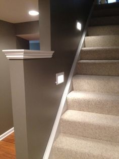 Lights imbedded in wall for the basement stairs. Good idea