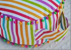 DIY Fruit Stripe Floor Cushion.  Only uses one yard of fabric!