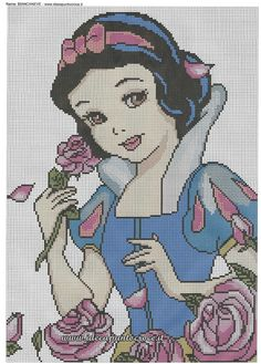 Snow White with Roses. Cross Stitch Patterns Free Disney, Cross Stitch Designs, Disney Stitch, Beaded Cross Stitch, Cross Stitch Embroidery, Broderie Bargello, Pixel Art Templates, Tapestry Crochet, Crochet Chart
