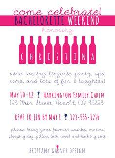 25 Wine Tasting Bachelorette Party Invitations by BrittanyGarnerDesign. $43.75, via Etsy.