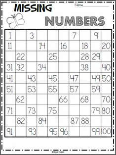 Foglio di lavoro di numeri mancanti di Spring Chart - Madebyteachers Free chart math worksheet for spring. Write the missing numbers on the hundreds chart. As an extension activity, ask the students skip count numbers First Grade Math Worksheets, School Worksheets, 1st Grade Math, Kindergarten Worksheets, Missing Number Worksheets, Skip Counting Worksheet, Skip Counting Activities, Kindergarten Counting, Math Coloring Worksheets