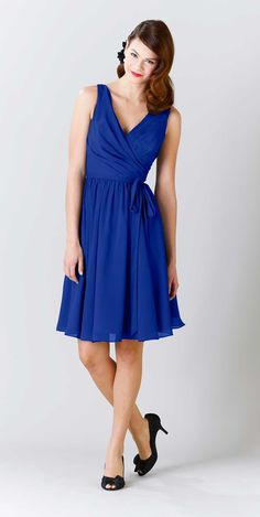 Choose this strapped bridesmaid dress in royal blue that will flatter any of your 'maids.