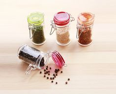 BPA Free. Glass Mini Jar Sets carry unique shapes and colorful lids with silicone ring...
