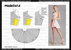 Easy Sewing Patterns, Clothing Patterns, Dress Patterns, Fashion Sewing, Diy Fashion, Ideias Fashion, Diy Clothes Design, Costura Fashion, Bodice Pattern