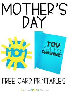 Need ideas for an easy DIY Mother's Day crafts and cards? Have your students make homemade gifts in the classroom using my easy art templates and free card printable. These cards are simple and moms will love them! Lots of different projects to chose from Mother's Day Printables, Free Printable Cards, Teaching Special Education, Early Education, Math Workbook, Mothers Day Crafts For Kids, Learn Art, Mother's Day Diy, Special Needs Kids