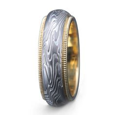 mokume gane sterling silver palladium white gold etched wedding ring with yellow gold rails unique wedding band