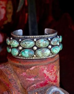 Nevada Damele Turquoise Heavy Gauged Stamped Bracelet Native American Handmade Nelvin Burbank