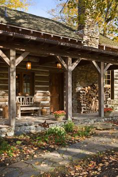 Dream home - Country living - I have always wanted to live in a log cabin way out in the country. Dream home - Country living - I have always wanted to live in a log cabin way out in the country. Log Cabin Living, Log Cabin Homes, Log Cabins, Rustic Cabins, Rustic Homes, Small Log Cabin, Western Homes, Rustic Cabin Decor, Traditional Porch