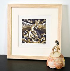 Zennor Mermaid  Relief / Letterpress Print by sarahyoung5 on Etsy, £50.61