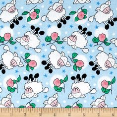 Rosy Sheep Flannel Blue from @fabricdotcom  Designed for Newcastle Fabric, this double napped (brushed on both sides) flannel is perfect for quilting, apparel and home decor accents. Colors include blue, white, black, pink and green.
