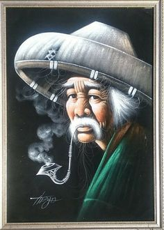 Vintage Oil Painting on Black Velvet Fabric old man w/hat smoking pipe-Framed Mexican Paintings, Black Velvet Fabric, Velvet Painting, Antique Frames, Smoke Shops, Paint By Number, Painting Frames, Norway, Smoking