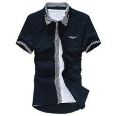 Korean Style Turn-down Collar Slimming Button Embellished Men's Short Sleeves Polyester Shirt