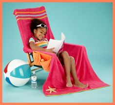 Beach Chair Cover Up - comes with Instructions! Sewing Tutorials, Sewing Projects, Sewing Patterns, Sewing Ideas, Beach Cart, Patterned Armchair, Easy Projects, Fabric Art, Summer Fun