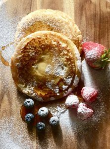 Flatlay Photography First Attempt, Pancakes, Maple Syrup and Berries .... Deliciousness.