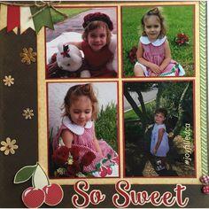 So Sweet! Love how the cherries match her dress. Album by JoyFilled Custom Albums. #joyfilledca #scrapbooking #customscrapbook #sosweet #littlegirllayout