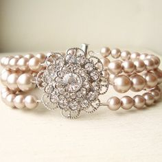 Champagne Pearl Wedding Bridal Bracelet, Vintage Style Bridal Wedding Jewelry, Rhinestone and Pearl Bracelet, Champagne Pearls, VICTORIA