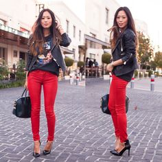 #stealthelook #look #looks #streetstyle #streetchic #moda #fashion #style #estilo #inspiration #clothes #roupas #AimeeSong #SongofStyle #calça #red #vermelha #tee #camiseta #jaqueta #couro #givenchy #bag