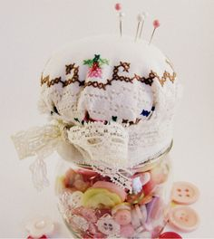 Many years ago, mybrother made mum a pincushion at school for Mother's Dayout of a plastic Fabulon lid, some polyfill, a piece of fab...