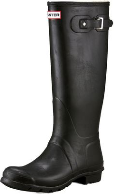 $135, Black Rain Boots: Hunter Boot Original Tall Rain Boot. Sold by Neiman Marcus. Click for more info: https://lookastic.com/men/shop_items/122204/redirect