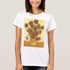 Sunflowers by Van Gogh T-shirt, Women's, Size: Adult L, White Vase With Fifteen Sunflowers, Sunflower Vans, Aesthetic T Shirts, Fast Hairstyles, Vincent Van Gogh, Cute Fashion, Diy Clothes, Black And Brown, Fitness Models