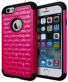 Amazon.com: iPhone 6 Case Shock Resistant Cover - Diamond Rhinestone - Apple iPhone 6 4.7 Inch Case - Heavy Duty Shock Absorbing (Hot Pink): Cell Phones & Accessories