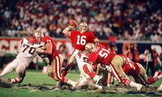 <p>San Francisco 49ers quarterback Joe Montana leads his team down the field in the closing minutes against the Cincinnati Bengals in Super Bowl XXIII. With only 3:10 left in the game, Montana marched the 49ers 92 yards down the field to beat the Bengals 20-16.</p>