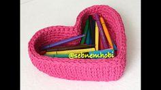 Kalp sepet yapımı - Crochet heart basket