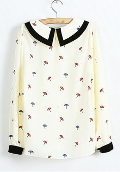 Multicolor Umbrella Print Flowers Lapel Chiffon Blouse
