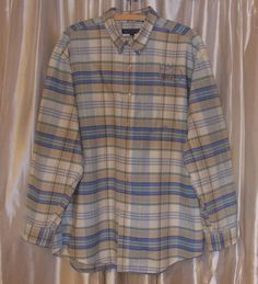 Green blue beige plaid heavy-duty shirt long sleeve ROPER 100%cotton Extra Large #Roper #ButtonFront
