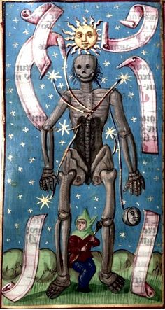 A la Zodiac Man. Le Calendrier des Bergers. Skeleton and celestial bodies. Scan of 2 d image in the public domain believed to be free to use without restriction in the US.