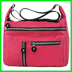 Zbeibei Women's Nylon Shoulder Bags Crossbody Messenger Bags Casual Travel Handbag(601,xiguahong) - Shoulder bags (*Amazon Partner-Link)