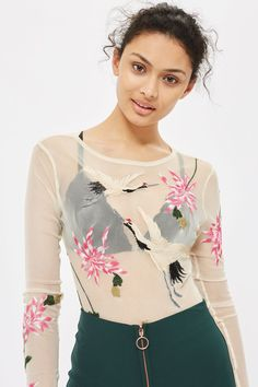 a98312c1c1a4e Bird Embroidered Body - New In Fashion - New In - Topshop Topshop Bodysuit
