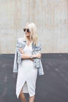 A denim jacket is as versatile as a blazer. Try it with a fitted dress for a more casual feel.