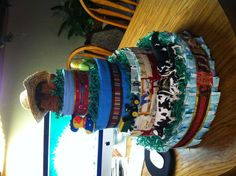 Western diaper cake for a baby shower