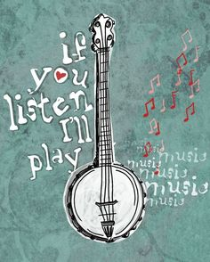 My Banjo Has Stories to Tell / Signed Art Print 8 x by studio3ten, $20.00