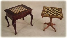 1:12 Scale Miniature Dollhouse Chess Tables - One on the right by Bill Ellis